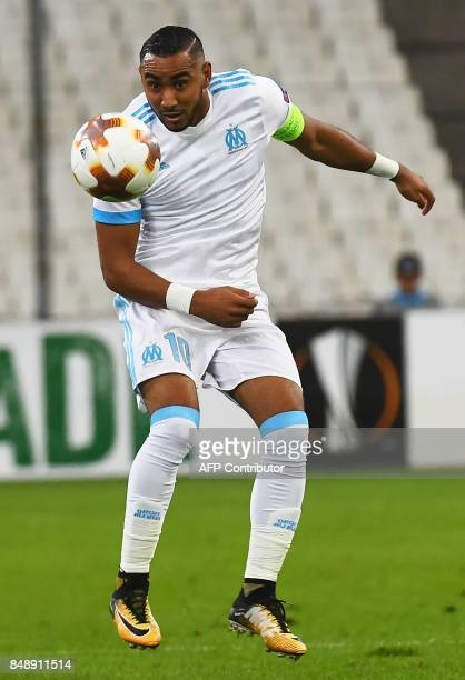 Olympique de Marseille's French forward Dimitri Payet controls the ball during the UEFA Europa League football match Marseille versus Konyaspor on...