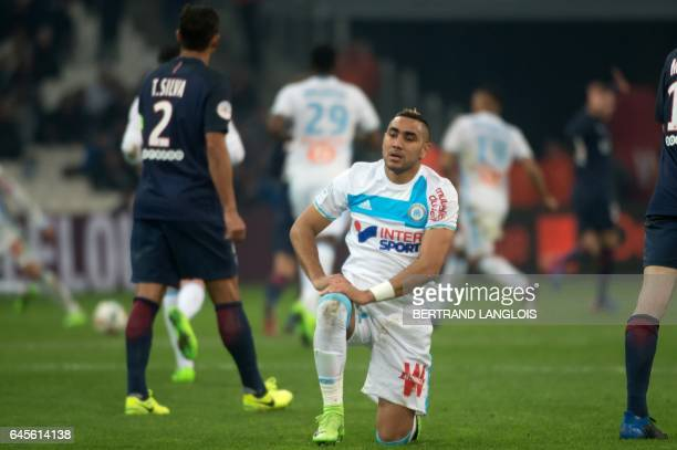 Olympique de Marseille's French forward Dimitri Payet reacts during the French L1 football match Olympique de Marseille vs Paris SaintGermain on...