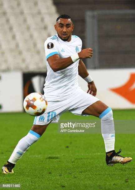 Olympique de Marseille's French forward Dimitri Payet runs for the ball during the UEFA Europa League football match Marseille versus Konyaspor on...