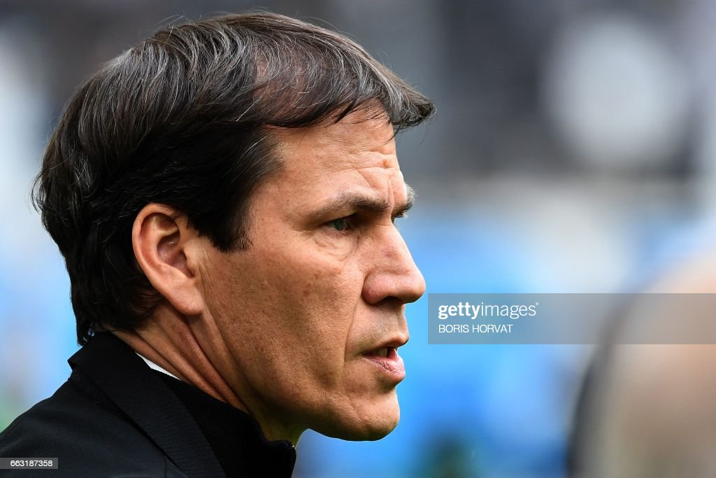 Olympique de Marseille's French head coach Rudi Garcia looks on prior to the French L1 football match between Olympique of Marseille (OM) and Dijon on April 1, 2017 at the Velodrome stadium in Marseille. /