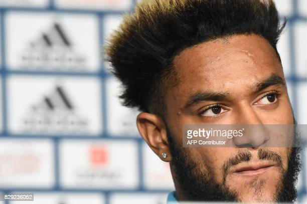 Olympique de Marseille's newly recruited player Jordan Amavi holds speaks to the press during his official presentation on August 10 2017 at the...