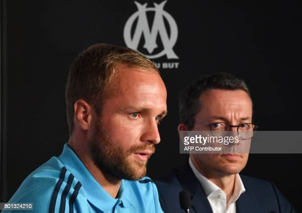 Olympique de Marseille's newly recruited player Valere Germain gives a press conference with Olympique de Marseille French president JacquesHenri...