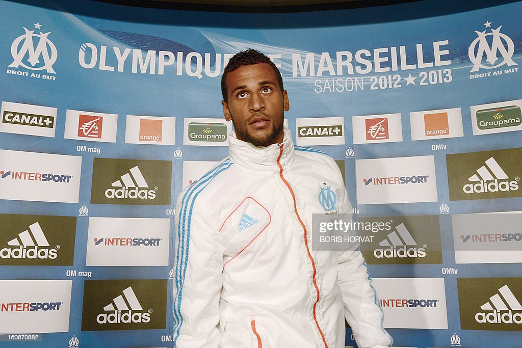 Olympique de Marseille's newly-recruited French-born Togolese midfielder Jacques-Alaixys Romao arrives to a press conference as part of his official presentation on February 07, 2013 at the Commanderie stadium in Marseille. Lorient's former midfielder Romao, 29, signed a contract, reported to be for three years and a half, with Marseille.