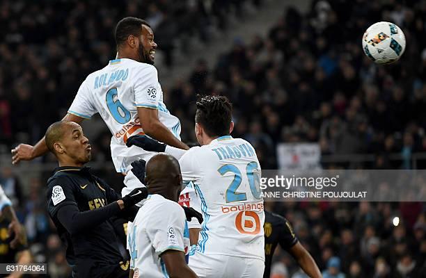 Olympique de Marseille's Portuguese defender Jorge Pires Da Fonseca Rolando scores a goal during the French L1 football match Marseille vs Monaco on...