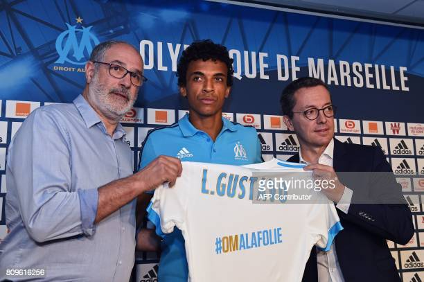 Olympique de Marseille's sporting director Andoni Zubizarreta and Olympique de Marseille's French president JacquesHenri Eyraud pose during the...
