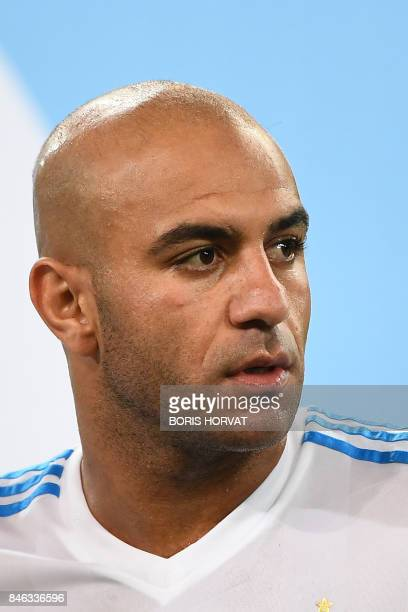 Olympique de Marseille's Tunisien defender Aymen Abdennour is pictured ahead of the French L1 football match between Olympique of Marseille and...
