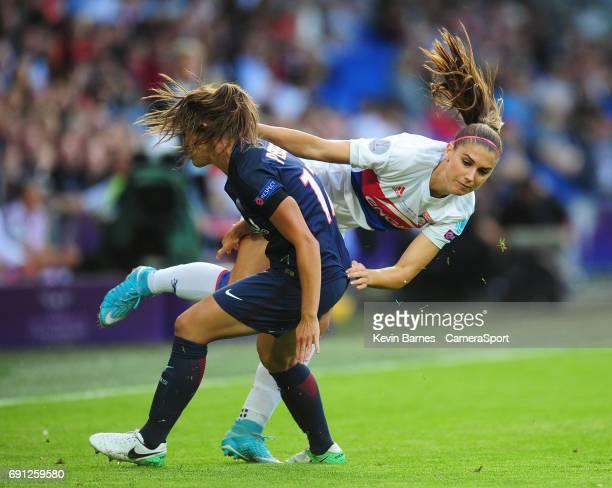 Olympique Lyonnais' Alex Morgan is fouled by Paris SaintGermain's Eve Perisset during the UEFA Women's Champions League Final match between Lyon...