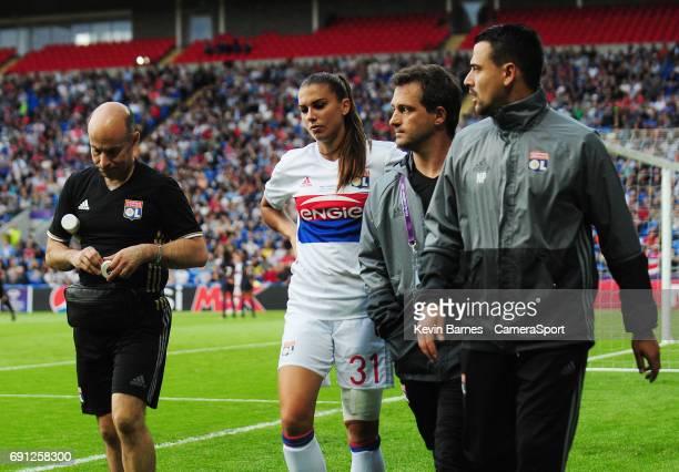 Olympique Lyonnais' Alex Morgan leaves the field injured during the UEFA Women's Champions League Final match between Lyon Women and Paris...
