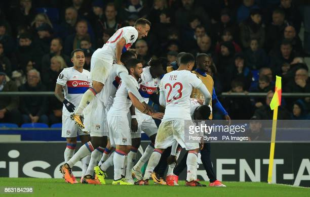 Olympique Lyonnais' Bertrand Traore celebrates scoring his side's second goal of the game with teammates during the UEFA Europa League Group E match...