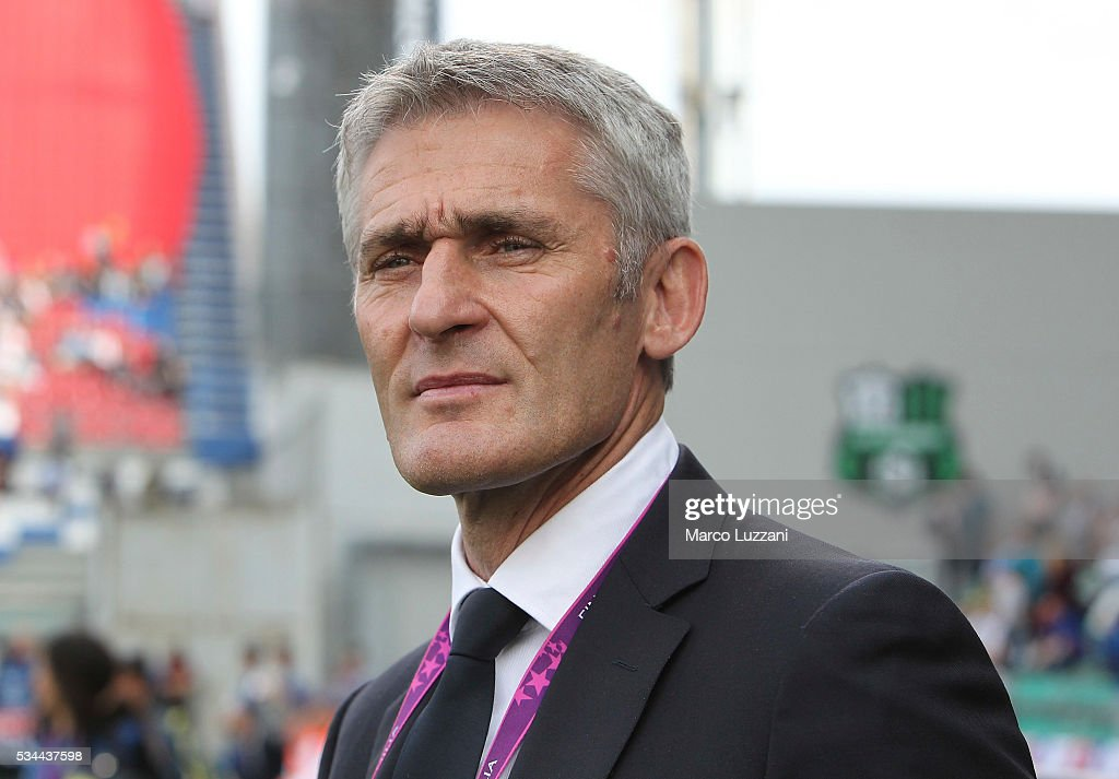 Olympique Lyonnais coach Gerard Precheur looks on before the UEFA Women's Champions League Final VfL Wolfsburg and Olympique Lyonnais between at Mario Rigamonti Stadium on May 26, 2016 in Brescia, Italy.