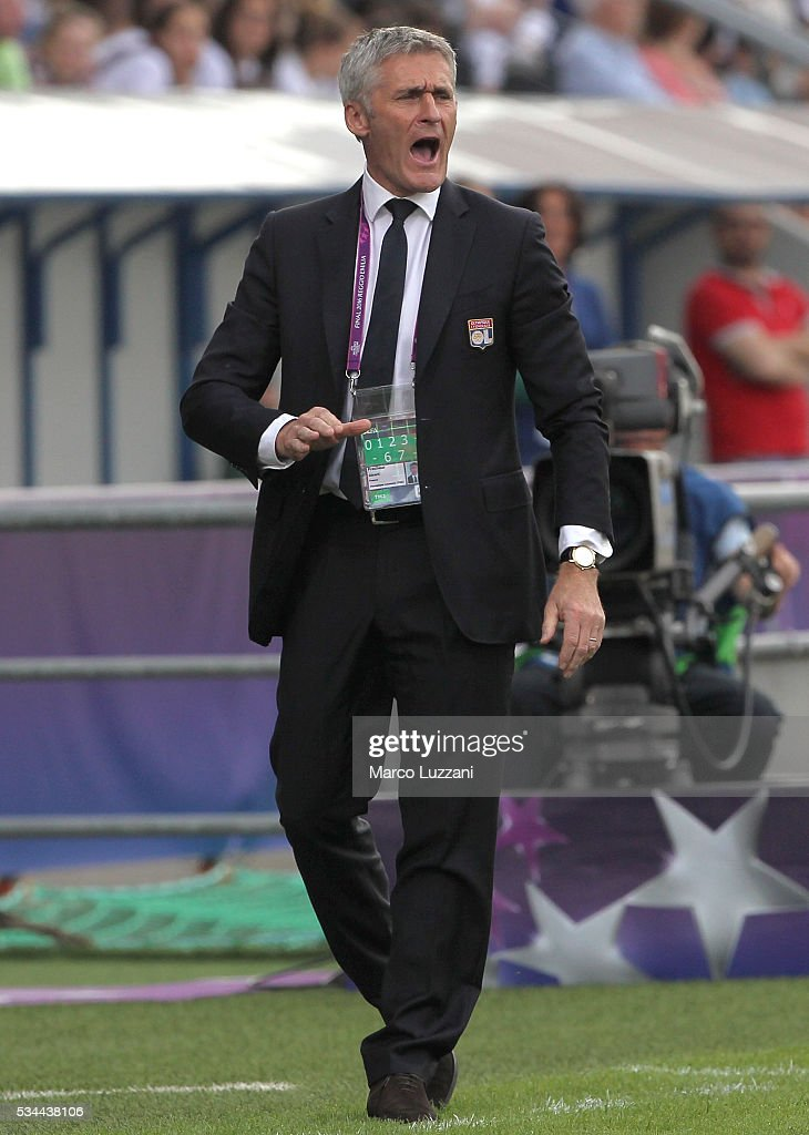 Olympique Lyonnais coach Gerard Precheur shouts to his players before the UEFA Women's Champions League Final VfL Wolfsburg and Olympique Lyonnais between at Mario Rigamonti Stadium on May 26, 2016 in Reggio nell'Emilia, Italy.