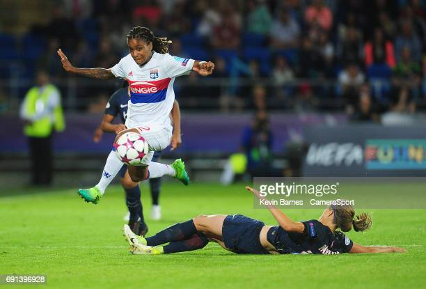 Olympique Lyonnais' Elodie Thomis evades the tackle of Paris SaintGermain's Irene Paredes during the UEFA Women's Champions League Final match...