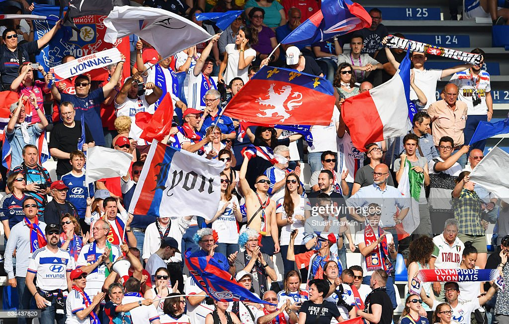 Olympique Lyonnais fans show their support prior to the UEFA Women's Champions League Final match between Wolfsburg and Lyon at Stadio Citta del Tricolore on May 26, 2016 in Reggio nell'Emilia, Italy.