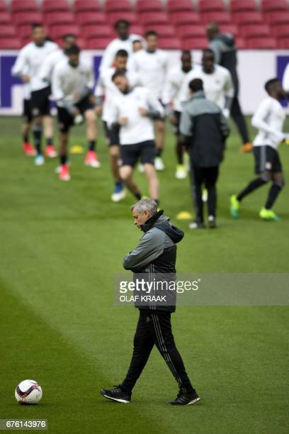 Olympique Lyonnais head coach Bruno Genesio attends a training in Amsterdam on May 2 2017 on the eve of their UEFA Champions League semifinal first...
