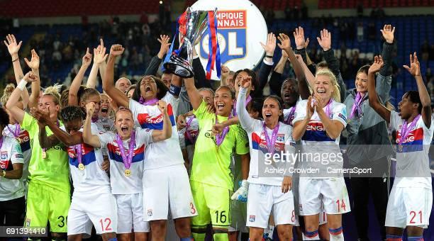 Olympique Lyonnais lift the UEFA Women's Champions League trophy during the UEFA Women's Champions League Final match between Lyon Women and Paris...