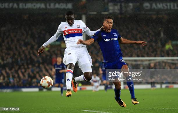 Olympique Lyonnais' Mouctar Diakhaby and Everton's Dominic CalvertLewin battle for the ball during the UEFA Europa League Group E match at Goodison...