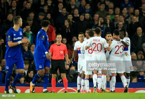 Olympique Lyonnais' Nabil Fekir celebrates scoring his side's first goal of the game with teammates during the UEFA Europa League Group E match at...