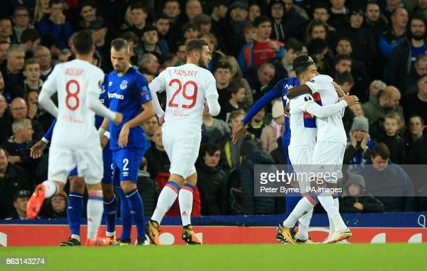 Olympique Lyonnais' Nabil Fekir celebrates scoring his side's first goal of the game during the UEFA Europa League Group E match at Goodison Park...