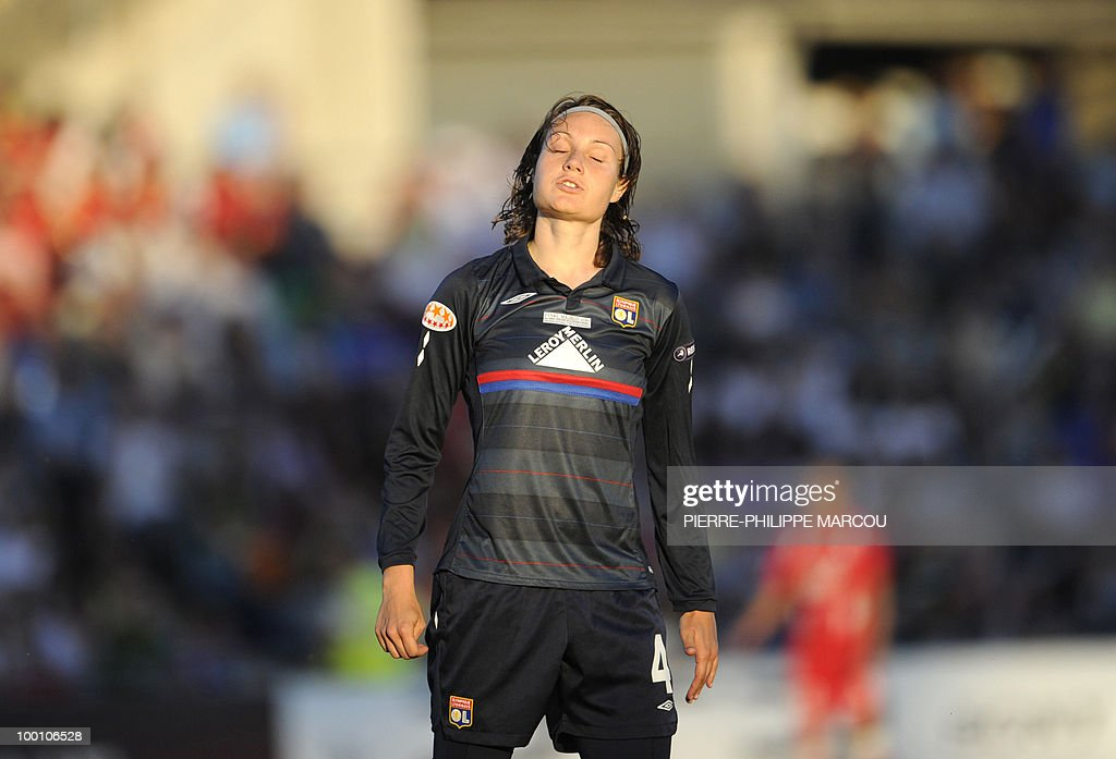 Olympique Lyonnais' Norwegian midfielder Ingvild Stensland reacts during their Final women's Champions League football match at Coliseum Alfonso Pérez on May 20, 2010 in Getafe.