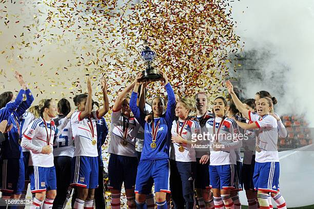Olympique Lyonnais players celebrate after the International Women's Club Championship Final Match between INAC Kobe Leonessa and Olympique Lyonnais...