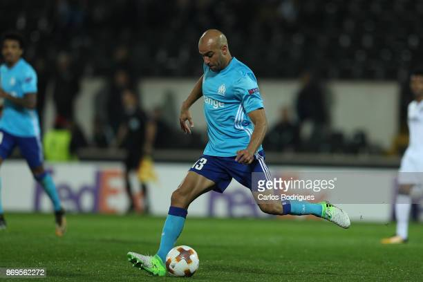 Olympique Marseille Aymen Abdennour from Tunisia during the match between Vitoria Guimaraes and Olympique Marseille match for UEFA Europa League at...