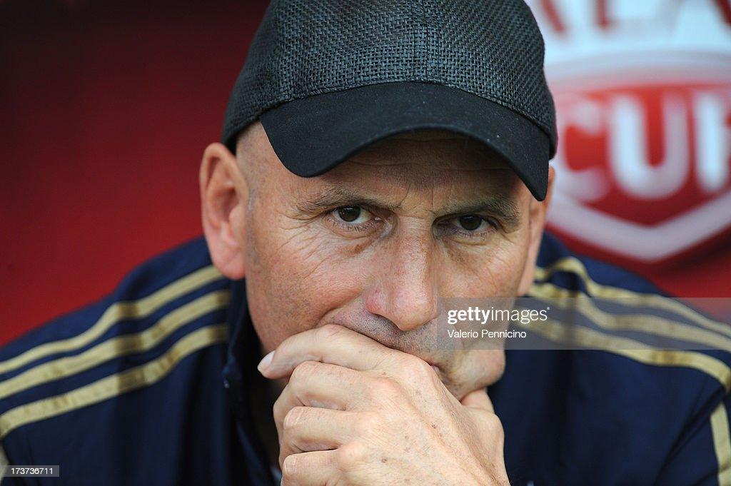 Olympique Marseille head coach Elie baup looks on prior to the pre-season friendly match between FC Porto and Olympique Marseille at Estadio Tourbillon on July 13, 2013 in Sion, Switzerland.