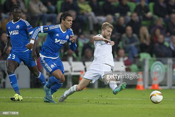 Olympique marseille Karim Rekik of Olympique de Marseille Michael de Leeuw of FC Groningen during the UEFA Europa League match between FC Groningen...