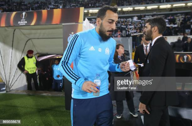 Olympique Marseille Kostas Mitroglou from Greece before the start of the UEFA Europa League match between Vitoria de Guimaraes and Olympique...