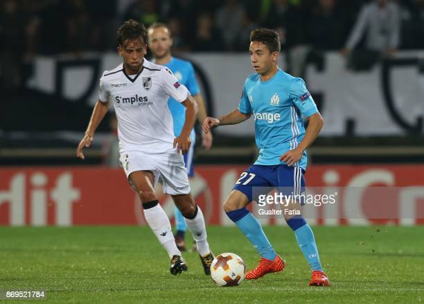 Olympique Marseille Maxime Lopez from France with Vitoria Guimaraes midfielder Francisco Ramos from Portugal in action during the UEFA Europa League...