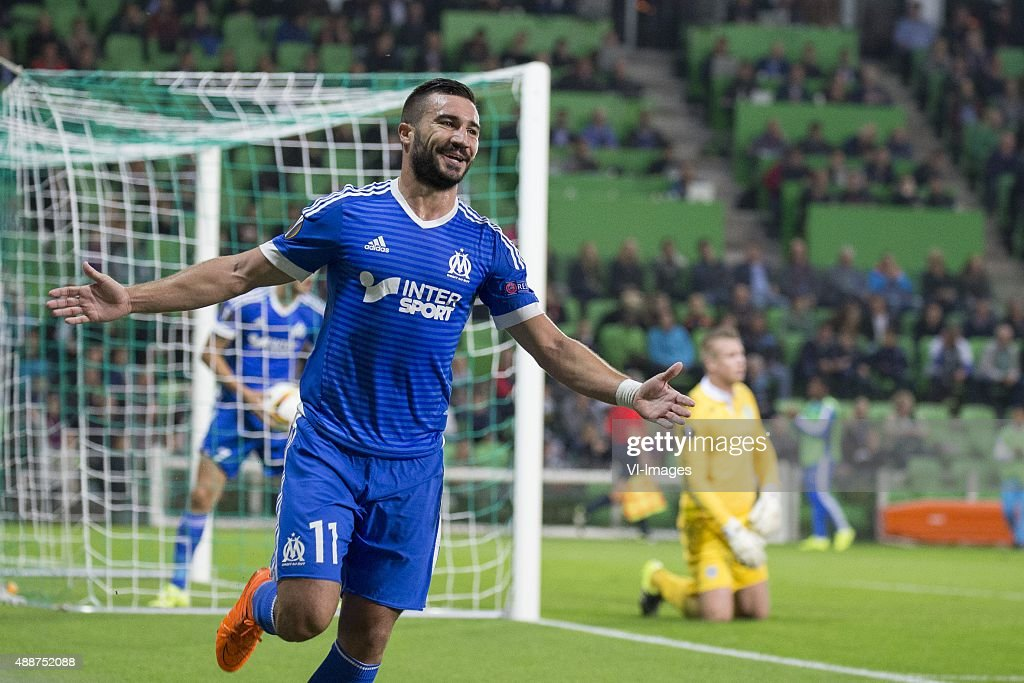 , Olympique marseille, <a gi-track='captionPersonalityLinkClicked' href=/galleries/search?phrase=Romain+Alessandrini&family=editorial&specificpeople=9572619 ng-click='$event.stopPropagation()'>Romain Alessandrini</a> of Olympique de Marseille, keeper Sergio Padt of FC Groningen, during the UEFA Europa League match between FC Groningen and Olympique Marseille on September 17, 2015 at the Euroborg stadium in Groningen, The Netherlands.