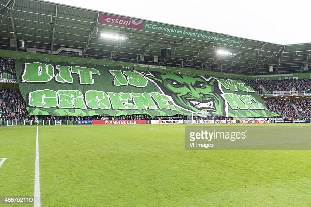 Olympique marseille Sfeer actie during the UEFA Europa League match between FC Groningen and Olympique Marseille on September 17 2015 at the Euroborg...