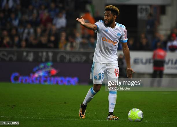 Olympique Marseille's French defender Jordan Amavi gestures during the French Ligue 1 football match between Strasbourg and Marseille on October 15...