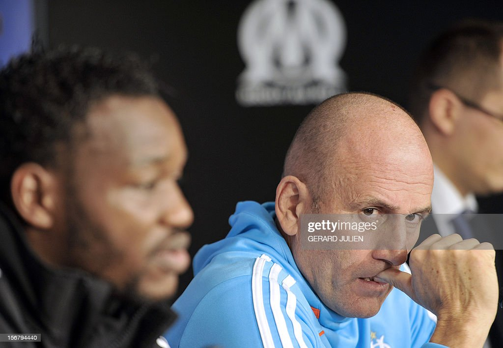 Olympique Marseille's French head coach Elie Baup gestures during a press conference at the Robert Louis-Dreyfus training center, on November 21, 2012 in Marseille, on the eve of the UEFA Europa League qualifying football match against Fenerbahçe SK.