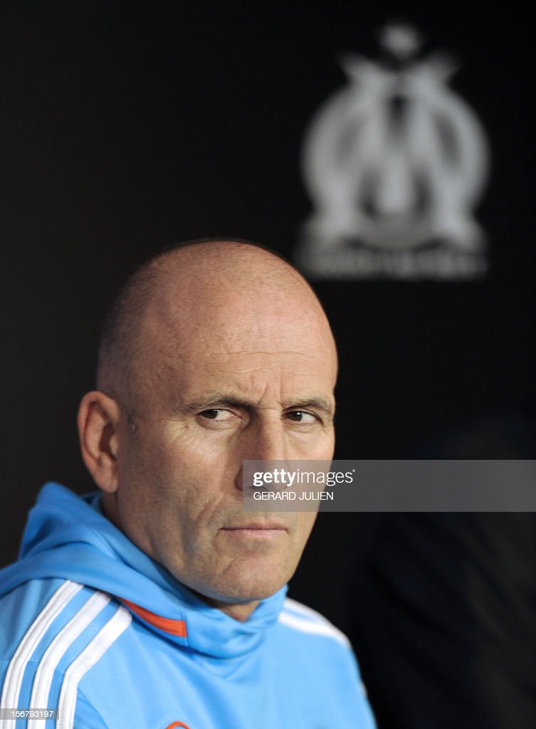 Olympique Marseille's French head coach Elie Baup gives a press conference at the Robert Louis-Dreyfus training center, on November 21, 2012 in Marseille, on the eve of the UEFA Europa League qualifying football match against Fenerbahçe SK. AFP PHOTO/GERARD JULIEN