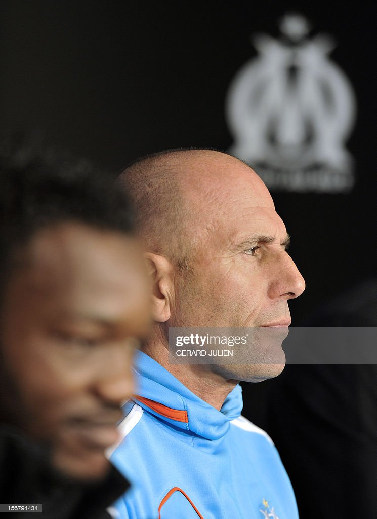 Olympique Marseille's French head coach Elie Baup gives a press conference at the Robert Louis-Dreyfus training center, on November 21, 2012 in Marseille, on the eve of the UEFA Europa League qualifying football match against Fenerbahçe SK.