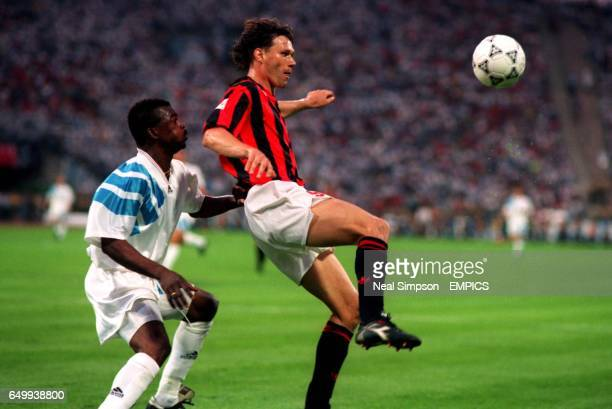 Olympique Marseille's Jocelyn Angloma and AC Milan's Marco Van Basten
