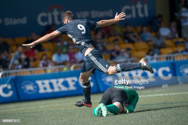 Olympique Marseille's Leo Linnra run over the goally during their Main Tournament match part of the HKFC Citi Soccer Sevens 2017 on 27 May 2017 at...