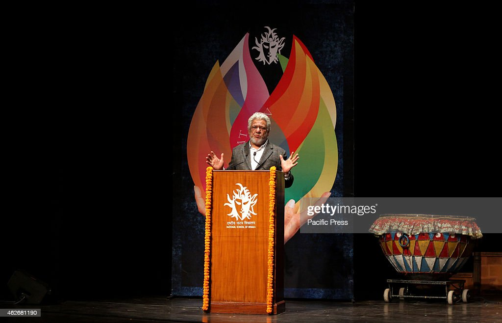 <a gi-track='captionPersonalityLinkClicked' href=/galleries/search?phrase=Om+Puri&family=editorial&specificpeople=1651238 ng-click='$event.stopPropagation()'>Om Puri</a>, Theatre & Film Actor during the opening ceremony of 17th Bharat Rang Mahotsa-the International theatre festival of India organized by National School of Drama . Bharat Rang Mahotsav was established a decade ago by the National School of Drama to stimulate the growth and development of theatre across the country.