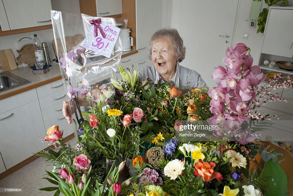 Oma Lilo 90! : Stock Photo