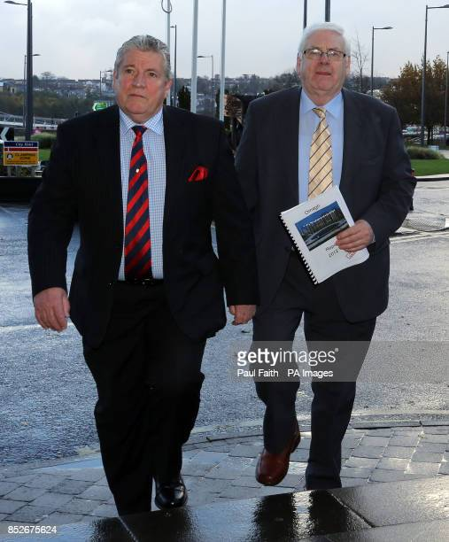 Omagh bomb relatives Stanley McComb and Michael Gallagher arrive with the Omagh bomb report to meet former US diplomat Dr Richard Haass at the City...