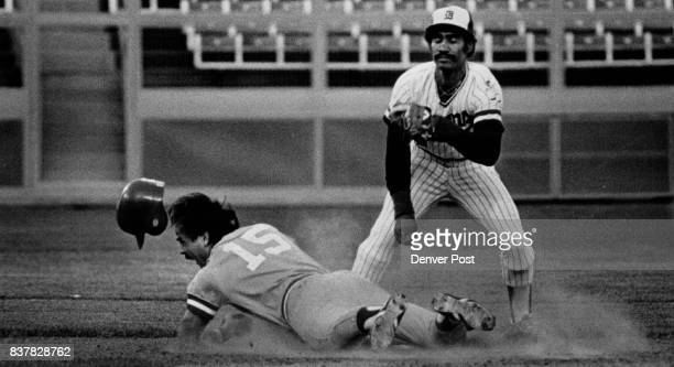 Omaha = Tim Ireland 2nd baseman bets safely into 2nd for double in 1st inning making late tag is Beans Jerry Manuel Baseball Denver Bears Credit...