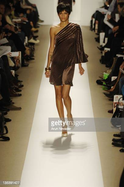 Omahyra Mota wearing Atil Kutoglu Fall 2007 during MercedesBenz Fashion Week Fall 2007 Atil Kutoglu Runway at The Promanade Bryant Park in New York...