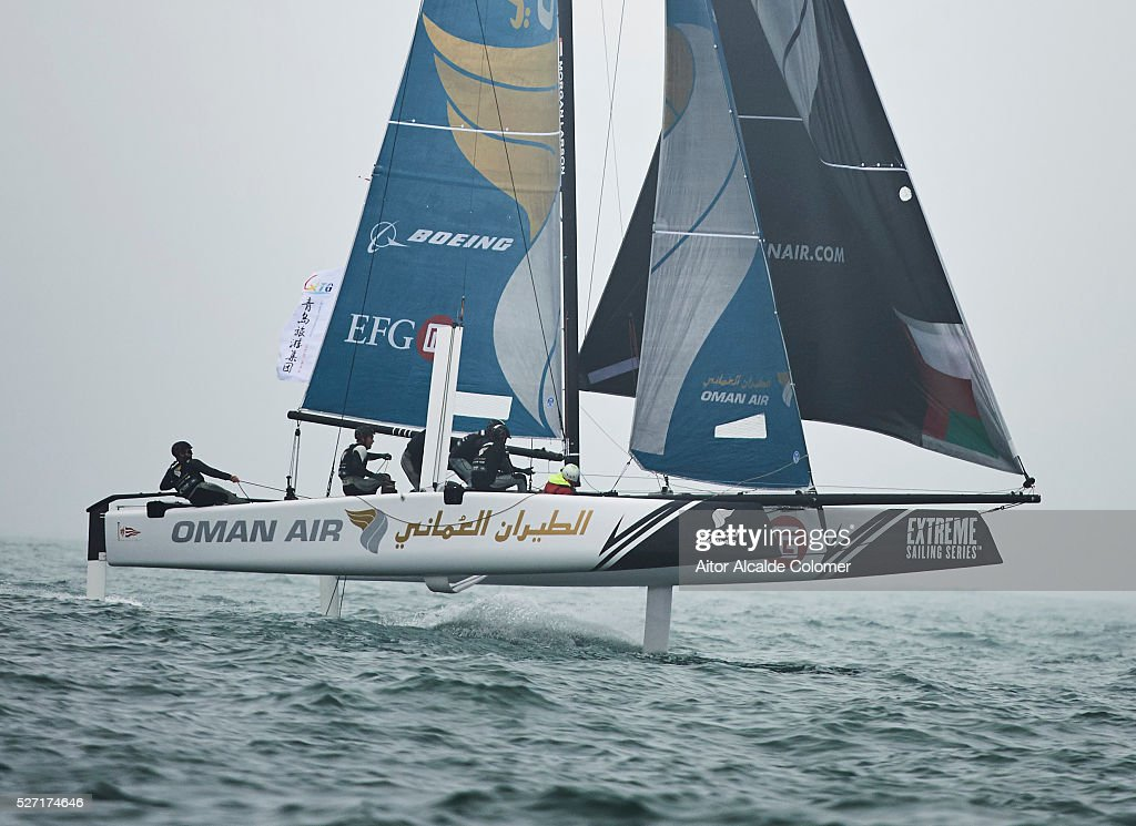 Oman Air skippered by Morgan Larson (USA) with trimmer��Pete Greenhalgh (GBR), Bowman James Wierzbowsk (AUS), Trimmer Ed Smyth (NZL) and Nasser Al Mashari (OMA) competes during the Extreme Sailing Series Qingdao 2016 on May 02, 2016 in Qingdao, China.