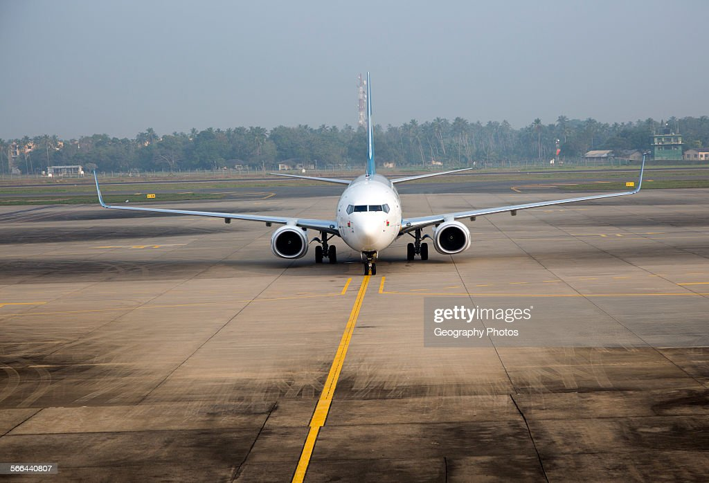 Oman Airways Boeing 737 plane Bandaranayake International Airport Colombo Sri Lanka Asia