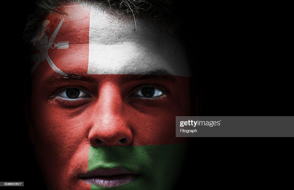Oman flag on face : Stock Photo