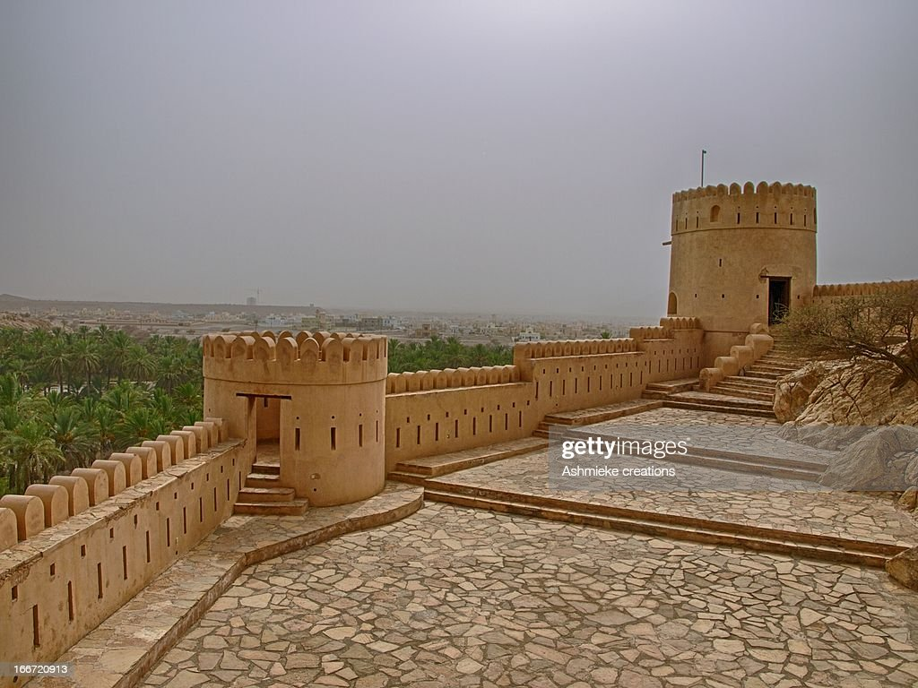 Oman Fort in Sand Storm : Stock Photo
