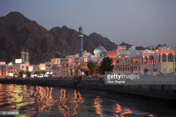 Oman, Muscat, Mutrah, skyline at dusk
