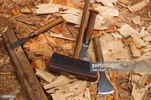Oman, Sur, shipyard, hammer and chisels