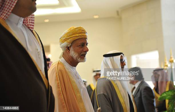 Omani Foreign Minister Yussef bin Alawi bin Abdullah arrives to attend the Gulf Cooperation Council Foreign Ministers' meeting in Riyadh on March 4...