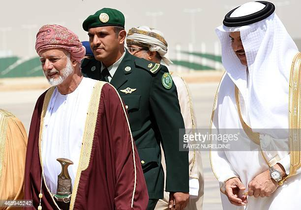 Omani Foreign Minister Yussef bin Alawi bin Abdullah is escorted by Secretary General of the Gulf Cooperation Council for the Arab States of the Gulf...